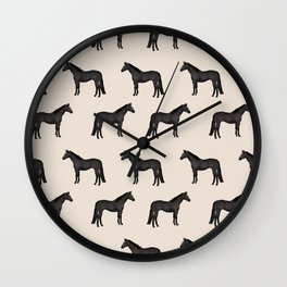 Black horse farm animal horses gifts Wall Clock