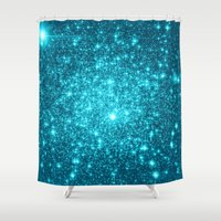 turquoise Shower Curtains featuring Turquoise Teal Sparkle Stars by WhimsyRomance&Fun