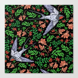Swifts and Berries Canvas Print