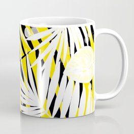 Black and White Tropical Leaves Coffee Mug