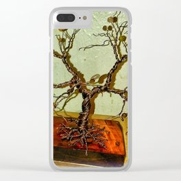 Copper Wire Tree Sculpture Clear iPhone Case