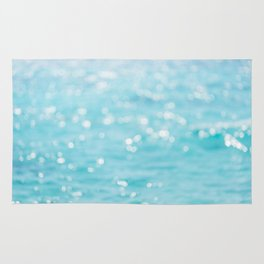 Rippling Sparkling Blue Ocean Photo Rug