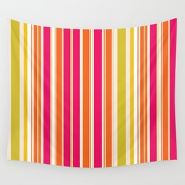 Stripes (Parallel Lines) - Orange Pink Green White Wall Tapestry