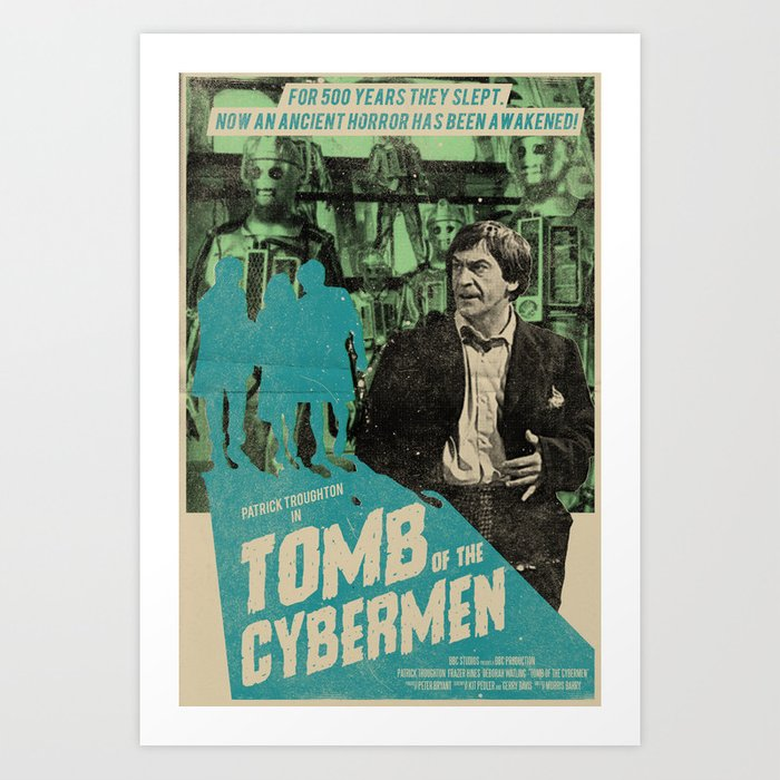 """Doctor Who """"Tomb of the Cybermen"""" Retro Movie Poster Art Print"""