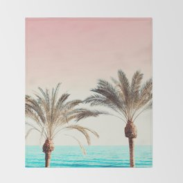 Modern California Vibes pink sky blue seascape tropical palm tree beach photography Throw Blanket