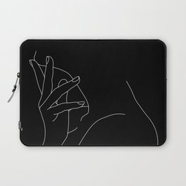Hand on neck line drawing - Josie Black Laptop Sleeve