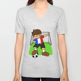 France Soccer Ball Dabbing Kid French Football Goal Unisex V-Neck