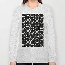 Polka Dots Circles Tribal Cream on Black Long Sleeve T-shirt