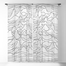 Black and white graphic - sound wave illustration Sheer Curtain