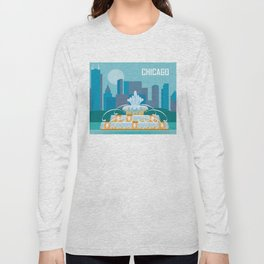 Chicago, Illinois - Skyline Illustration by Loose Petals Long Sleeve T-shirt