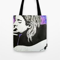 kurt cobain Tote Bags featuring Kurt Cobain by Lucy Ford
