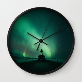 Colorful Northern Lights Wall Clock