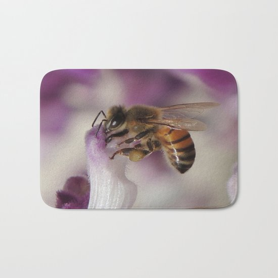 Worker Bee on Mexican Sage Bath Mat