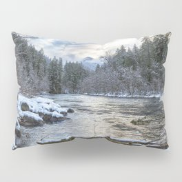 Morning on the McKenzie River Between Snowfalls Pillow Sham