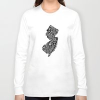 new jersey Long Sleeve T-shirts featuring Typographic New Jersey by CAPow!