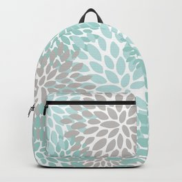 Floral Pattern, Teal, Aqua, Turquoise,Gray Backpack