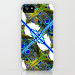 ART NOUVEAU FLYING GREEN PARROT  PEACOCK FEATHER WHITE ART iPhone Case