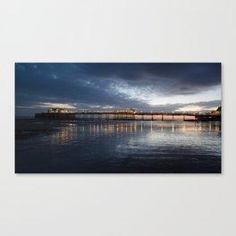 Sunset behind Worthing pier  Canvas Print