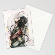 Beauty Illustration Beautiful Woman Feminine Portrait Stationery Cards