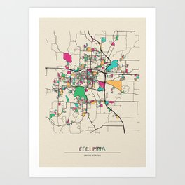 Colorful City Maps: Columbia, Missouri Art Print