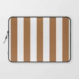 Metallic bronze - solid color - white vertical lines pattern Laptop Sleeve