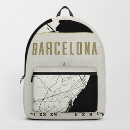 Barcelona - Vintage Map and Location Backpack