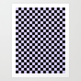 Black and Pale Lavender Violet Checkerboard Art Print