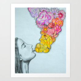 flower smoke Art Print