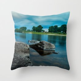 River Landscape Photography - The Banks of the Tay, Scotland Throw Pillow
