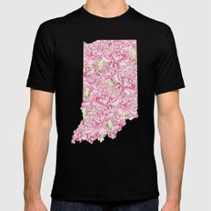 Indiana in Flowers Black Mens Fitted Tee MEDIUM