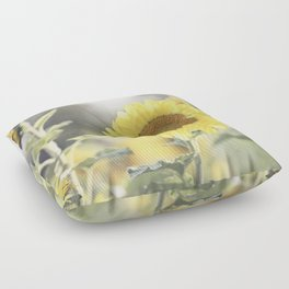 Sunflower Flower Photography, Yellow Sunflowers Floral Nature Photography Floor Pillow