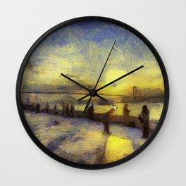 Bosphorus Sunset Van Gogh Wall Clock