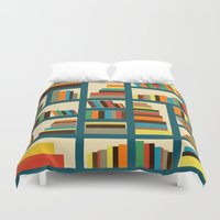 library Duvet Covers featuring library by vitamin