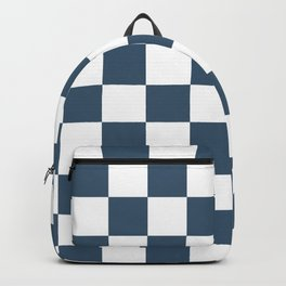 Dusky Blue Checkers Pattern Backpack