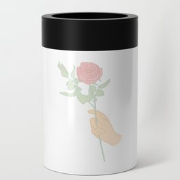 Minimal Hand Holding Rose Illustration Can Cooler