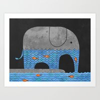 orange Art Prints featuring Thirsty Elephant  by Terry Fan