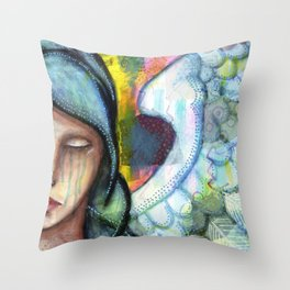 Crying Angel Throw Pillow
