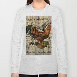vintage typography barn wood shabby french country poulet chicken rooster Long Sleeve T-shirt