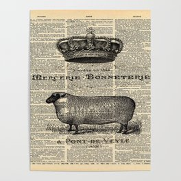 french dictionary print jubilee crown western country farm animal sheep Poster