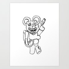Teddy Rockin' the Flamethrower Art Print