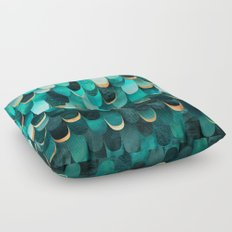 Feathered - Turquoise Floor Pillow