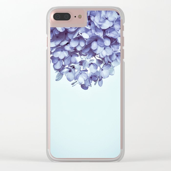 Floral fringe - french blue Clear iPhone Case