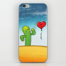 Spiky Cactus Flirting with a Heart Balloon iPhone & iPod Skin