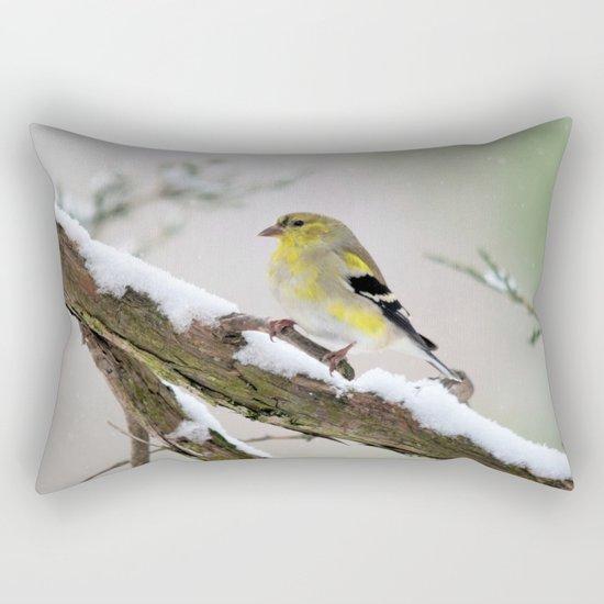 Balancing Act (American Goldfinch) Rectangular Pillow