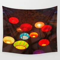 chandelier Wall Tapestries featuring Lights at Mama's Fish House, Maui by Hazel Bellhop