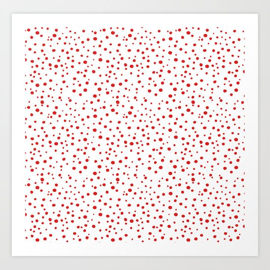 PolkaDots-Red on White Art Print