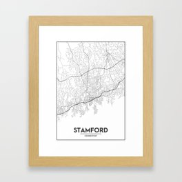 Minimal City Maps - Map Of Stamford, Connecticut, United States Framed Art Print