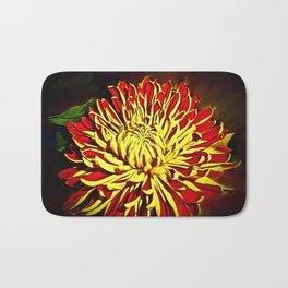 Autumn Winter Bloom Red and Gold Bath Mat