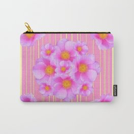 Decorative Wild Pink Roses Yellow Pattern Carry-All Pouch