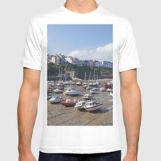 Boats in Tenby Harbour at low tide. Wales, UK. Mens Fitted Tee MEDIUM White